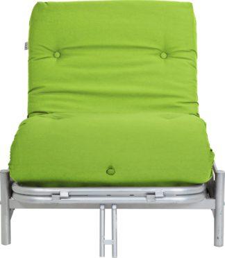 An Image of Argos Home Single Futon Metal Sofa Bed with Mattress - Green