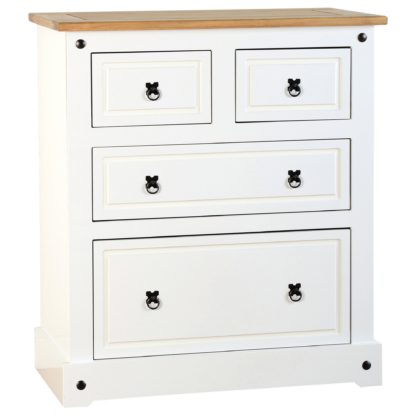 An Image of Corona White 4 Chest of Drawer White and Brown