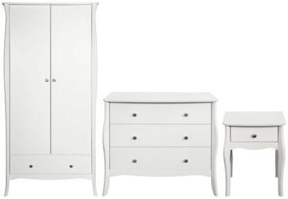 An Image of Amelie 3 Piece 2 Door Wardrobe Set - White