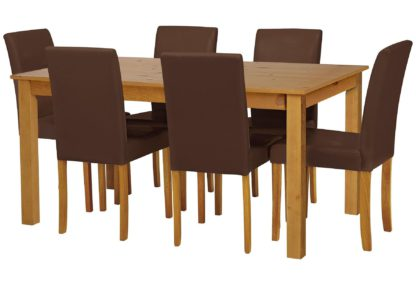 An Image of Habitat Ashdon Solid Wood Table & 6 Chocolate Chairs