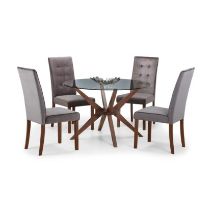 An Image of Chelsea Glass Dining Table with 4 Madrid Chairs Walnut