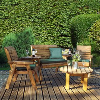 An Image of Charles Taylor 4 Seater Conversation Set with Green Seat Pads Dark Green