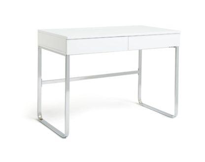 An Image of Habitat Sammy 2 Drawer Desk - White Gloss