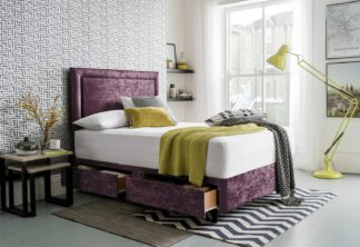 An Image of Silentnight Toulouse Velvet Kingsize Divan - Purple