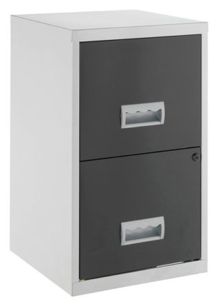 An Image of Pierre Henry 2 Drawer Metal Filing Cabinet - Silver & Black
