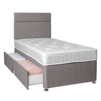 An Image of Argos Home Winslow 600 Pocket 2 Drawer Single Divan - Grey