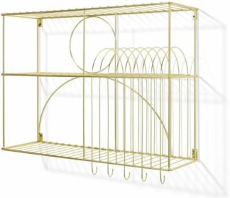 An Image of Gulli Wall-Mounted Kitchen Storage Rack, Extra Large, Gold