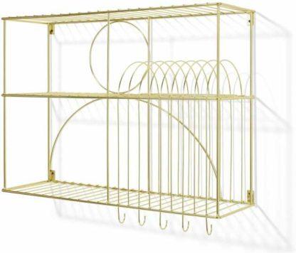 An Image of Gulli Wall-Mounted Kitchen Storage Rack, Extra Large, Gold