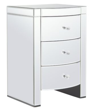 An Image of Argos Home Canzano 3 Drawer Bedside Table - Mirrored