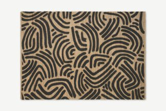 An Image of Bunji Printed Rug, Large 160 x 230cm, Charcoal Grey Jute