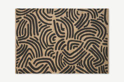 An Image of Bunji Printed Rug, Large 160 x 230cm, Charcoal Grey Jute