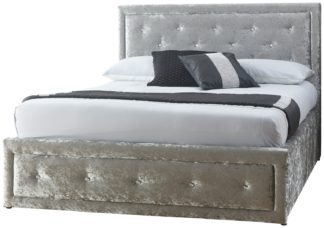 An Image of GFW Hollywood Crushed Velvet Ottoman King Bed Frame - Silver