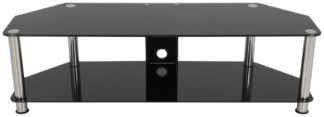 An Image of AVF Classic Up to 65 Inch Glass TV Stand - Black and Chrome