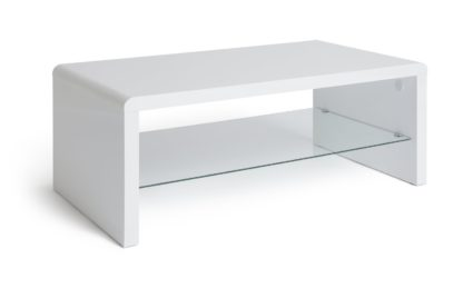 An Image of Habitat Sleigh 1 Shelf Coffee Table - White Gloss