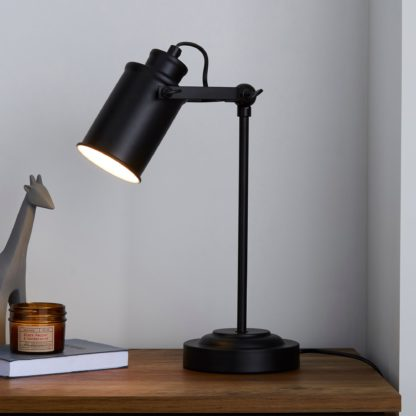 An Image of Healy Black Industrial Table Lamp Black