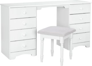 An Image of Argos Home Nordic 8 Drw Dressing Table & Stool - Soft White