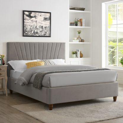 An Image of Lexie Silver Velvet Bed Frame Silver
