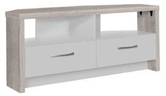 An Image of Habitat Venice 2 Drawer Large Corner TV Unit - Grey