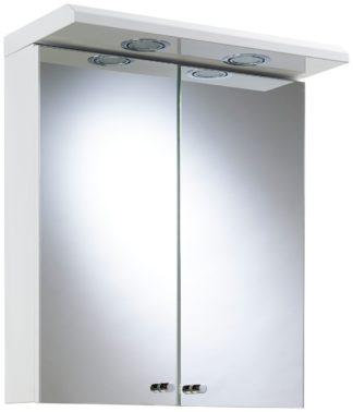 An Image of Croydex 2 Door Illuminated Bathroom Cabinet - White