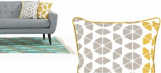 An Image of Trio Cushion 45 x 45cm, Grey and Mustard