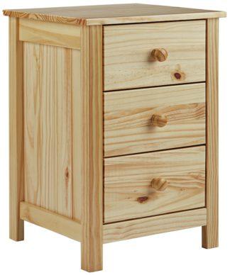 An Image of Habitat Scandinavia 3 Drawer Bedside Table - Pine