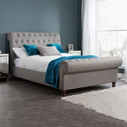 An Image of Castello Grey Sleigh Fabric Bed Frame Grey