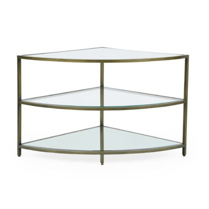 An Image of Claudia Brass Effect Corner TV Stand Gold