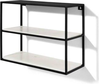 An Image of Dordie 2-Tier Wall-Mounted Storage Shelf Unit, Marble & Metal