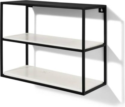 An Image of Dordie 2-Tier Wall-Mounted Storage Shelf Unit, Marble & Metal