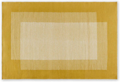 An Image of Caixa Wool Rug, Large 160 x 230cm, Mustard Yellow