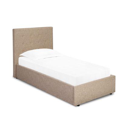 An Image of Lucca Beige Upholstered Bed Frame Beige