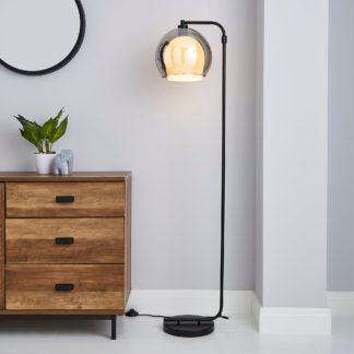 An Image of Elements Ramona Double Layered Glass Floor Lamp Black