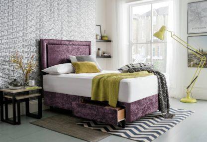 An Image of Silentnight Toulouse Velvet Kingsize 2 Drawer Divan - Purple