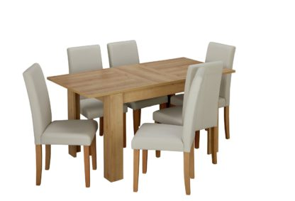 An Image of Habitat Miami Extending Table & 6 Chocolate Chairs