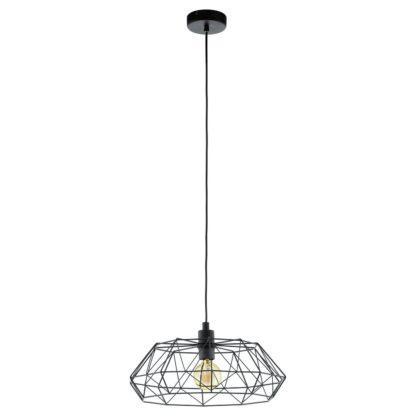 An Image of Eglo Carlton 2 Wire Pendant Light - Black