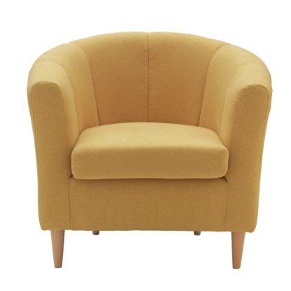 An Image of Habitat Ayres Fabric Tub Chair - Yellow