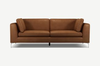 An Image of Monterosso 3 Seater Sofa, Denver Tan Leather with Chrome Leg
