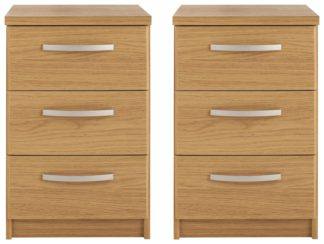 An Image of Habitat Hallingford 2 Bedside Tables Set - Oak Effect