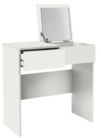 An Image of Habitat Malibu 1 Drawer Dressing Table & Mirror - White