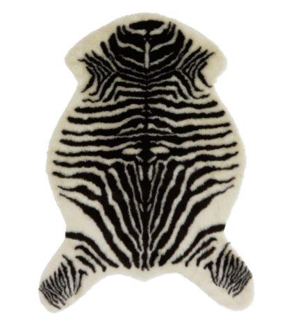 An Image of Argos Home Zebra Faux Fur Rug - 60x90cm - Monochrome