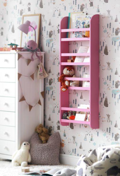 An Image of Habitat Scandinavian Kids 4 Shelf Wall Bookcase - Pink