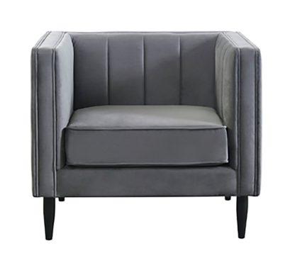 An Image of Habitat Vanessa Velvet Armchair - Grey