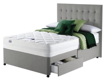 An Image of Silentnight Knightly 2000 Luxury Double 2Drw Divan Bed -Grey