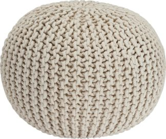 An Image of Habitat Cotton Knitted Pod Footstool - Natural
