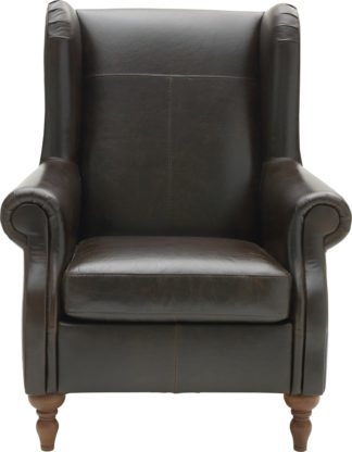 An Image of Argos Home Argyll Leather High Back Chair - Dark Brown