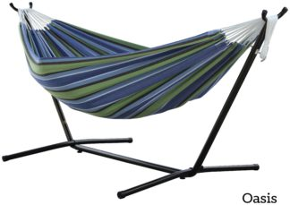An Image of Vivere Double Cotton Hammock with Stand - Oasis