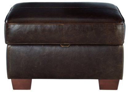 An Image of Habitat Salisbury Leather Storage Footstool - Black