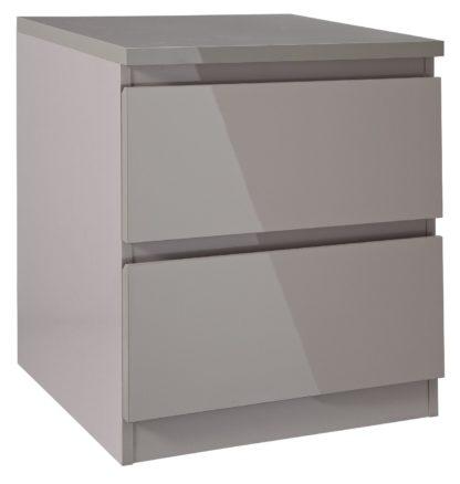 An Image of Habitat Jenson 2 Drawer Bedside Table - Grey Gloss