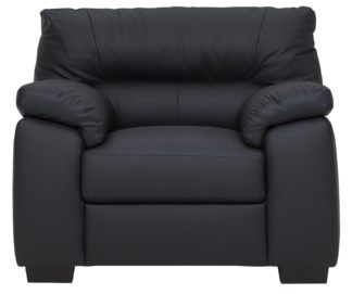 An Image of Argos Home Piacenza Leather Mix Armchair - Black