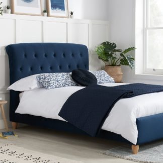 An Image of Brompton Fabric Bed Frame Blue